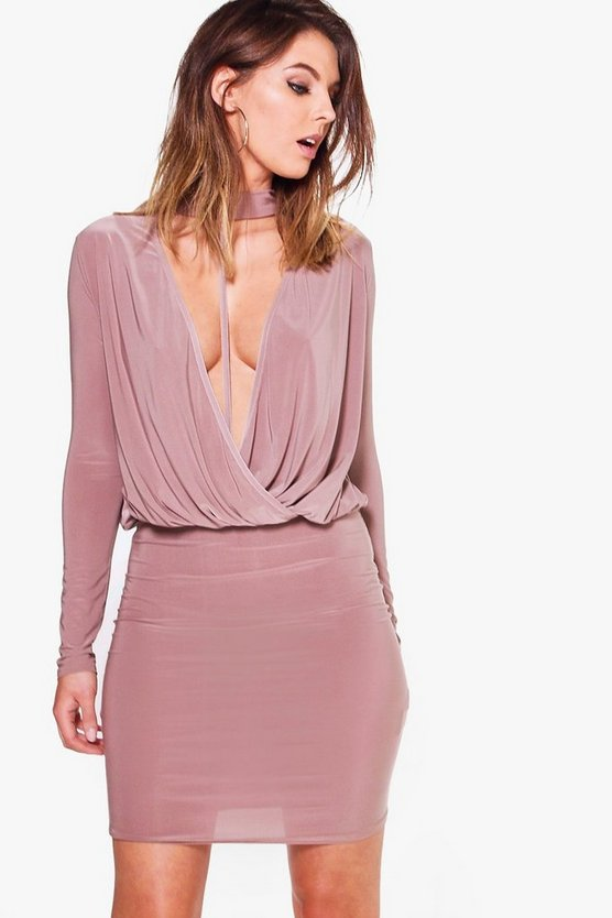 Eliza Slinky Wrap Choker Bodycon Dress