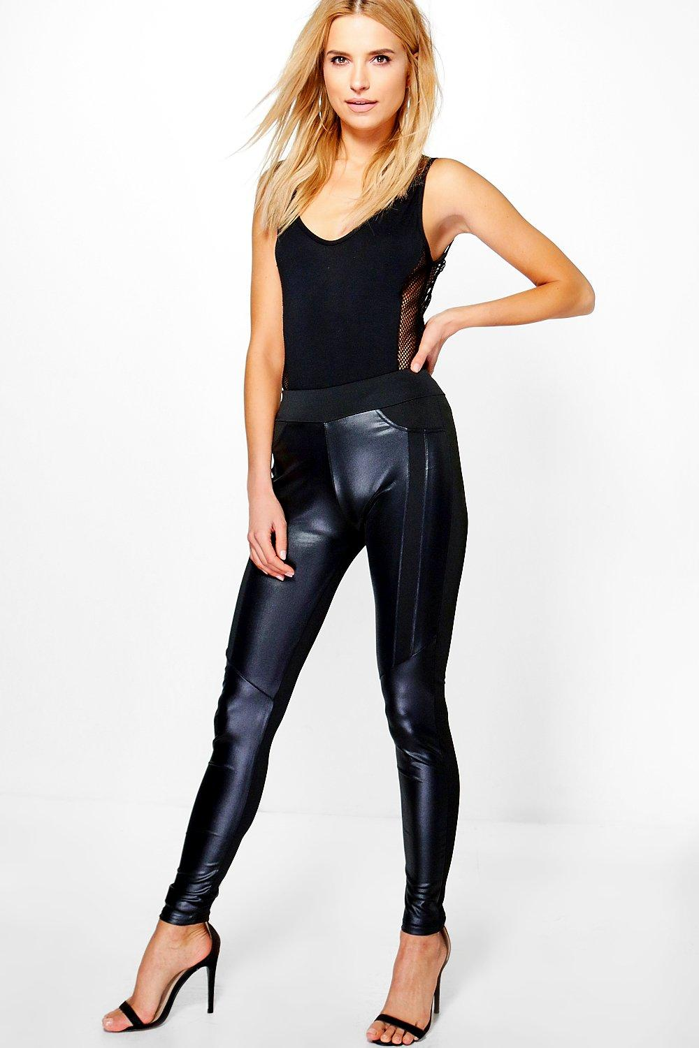 Avianna Leather Look Panelled Leggings black