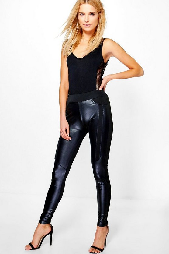 Avianna Leather Look Panelled Leggings
