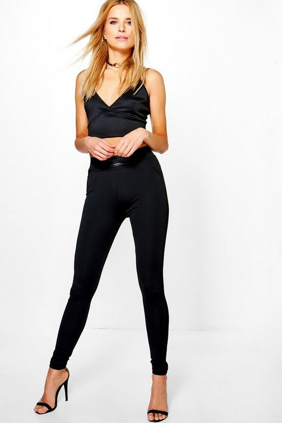 Camilla Leather Look Waist Detail Leggings