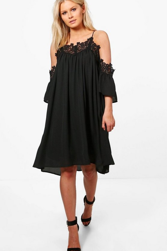 Tina Choker Cold Shoulder Smock Dress