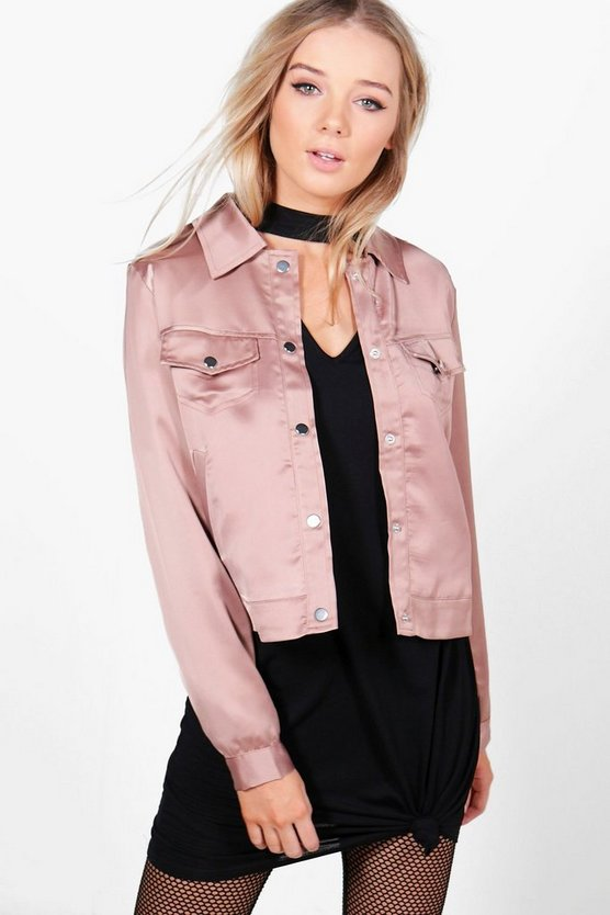 Eleanor Embroidered Satin Trucker