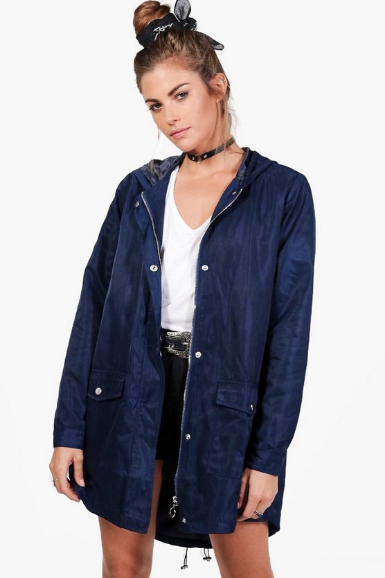 Megan Dip Hem Hooded Parka