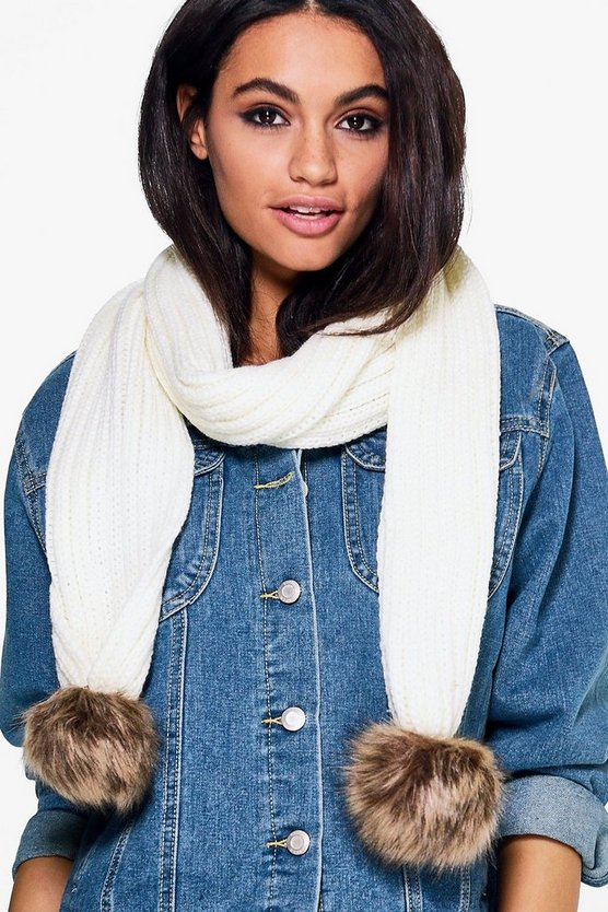 Amber Fur Pom Knitted Scarf