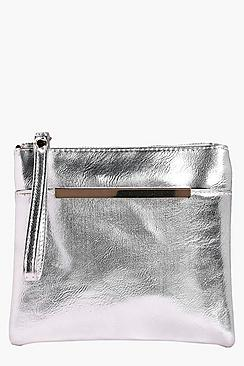 Ellie Metallic Bar Pocket Clutch Bag