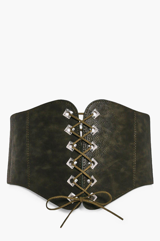 PU Corset Lace Up Belt - khaki - Olivia PU Corset
