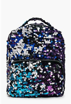 Isabella Rainbow Sequin Zip Around Rucksack