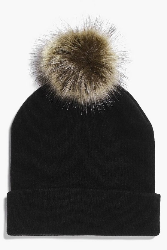 Brooke Basic Beanie Detachable Fur Pom