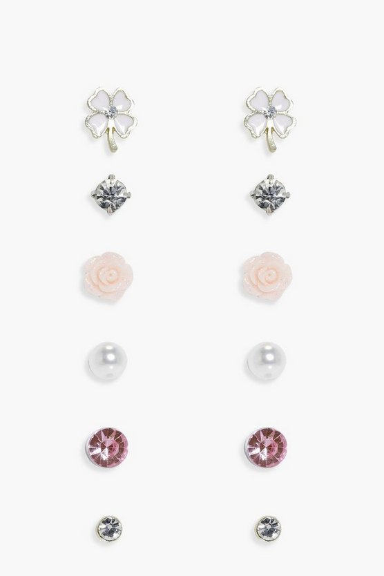 Tia Shamrock Mixed Stud Earring Set