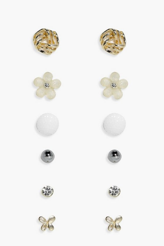 Maria Bee & Flower Stud 6 Earring Set
