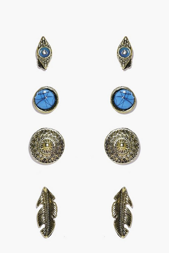 Libby Evil Eye & Feather Stud 4 Earring Set