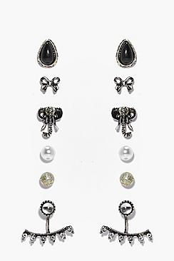 Mya Elephant Mixed Stud 6 Earring Set