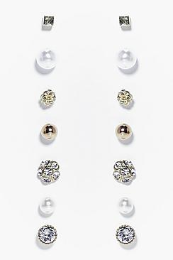 Louise Diamante & Pearl Stud Earring Set