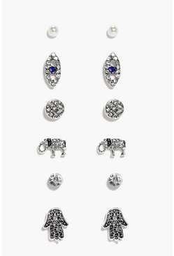 Arabella Hamsa & Elephant Stud 6 Earring Set