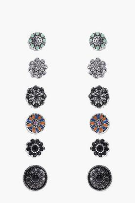 Kate Floral Stone Stud 6 Earring Set