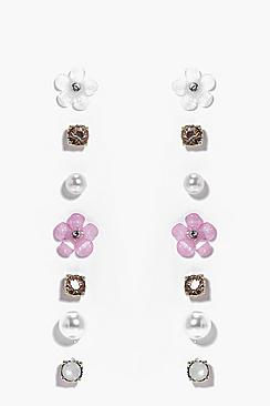 Edith Flower & Faux Pearl Stud Earring Set