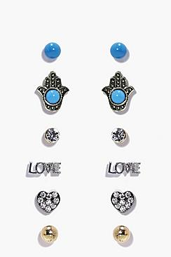 Phillipa Hamsa & Love Stud Earring Set