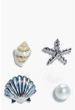 Honey Shell & Starfish Mermaid Mixed 4 Earring Set