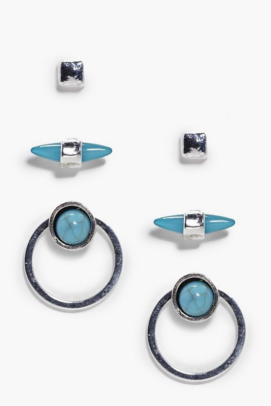 Tegan Turquoise Hoop & Spike 3 Earring Set