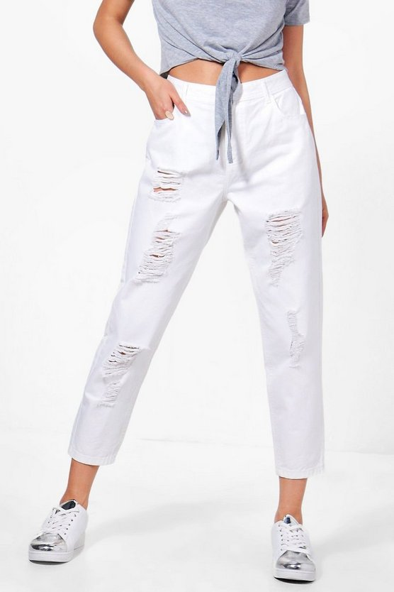 Jess Low Rise Distressed Mom Jeans