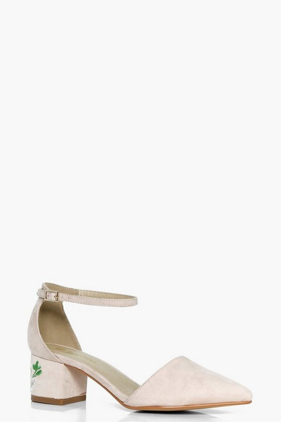 Lucy Wide Fit Embroidered Pointed Ballet