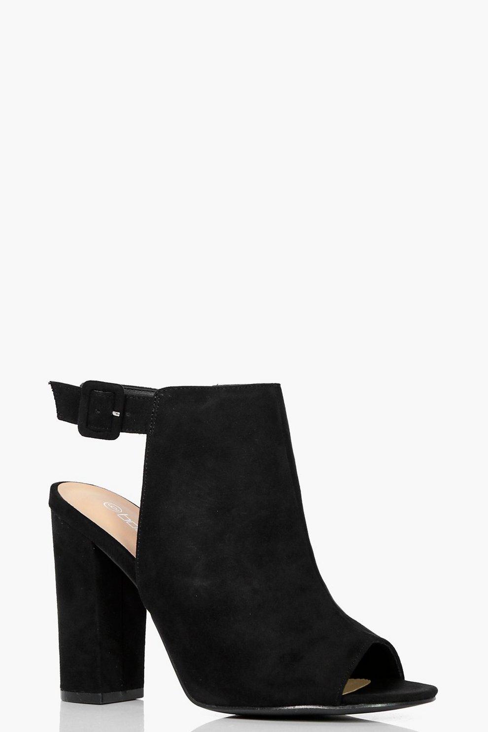 Zapatos negros de punta abierta Boohoo para mujer ZhquELg