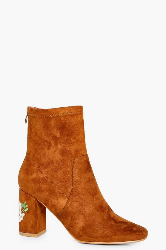 Ivy Wide Fit Embroidered Sock Boots
