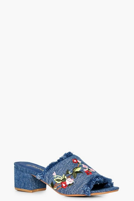 Edith Floral Frayed Edge Mule