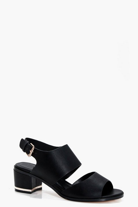 Zoe Wide Fit Cut Out Block Heel Sandal