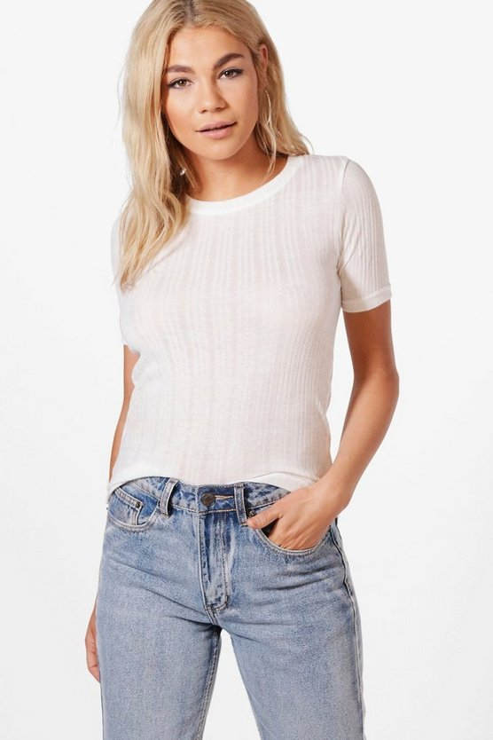 Tia Basic Washed Ribbed Tee