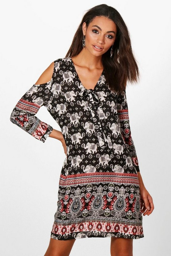 Amy Cold Shoulder Elephant Print Dress