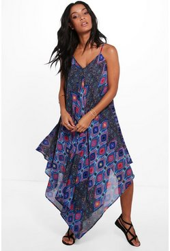 Abi Hanky Hem Printed Midi Dress