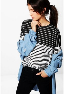 Anna Contrast Stripe Long Sleeve Crop Top