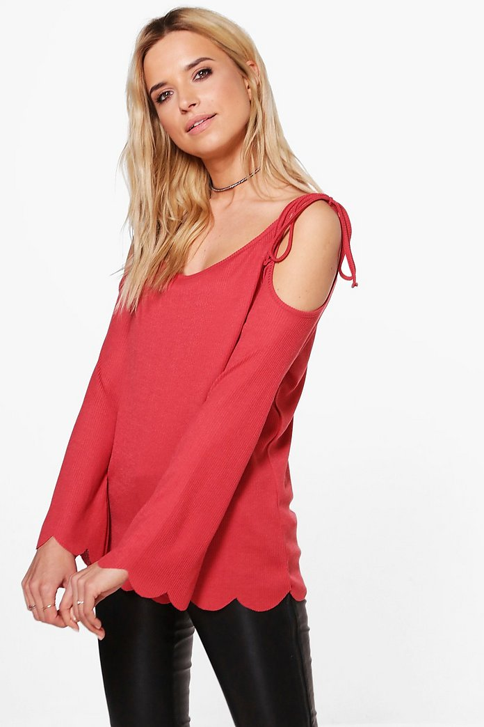 Hollie Cold Shoulder Scallop Edge Rib Top