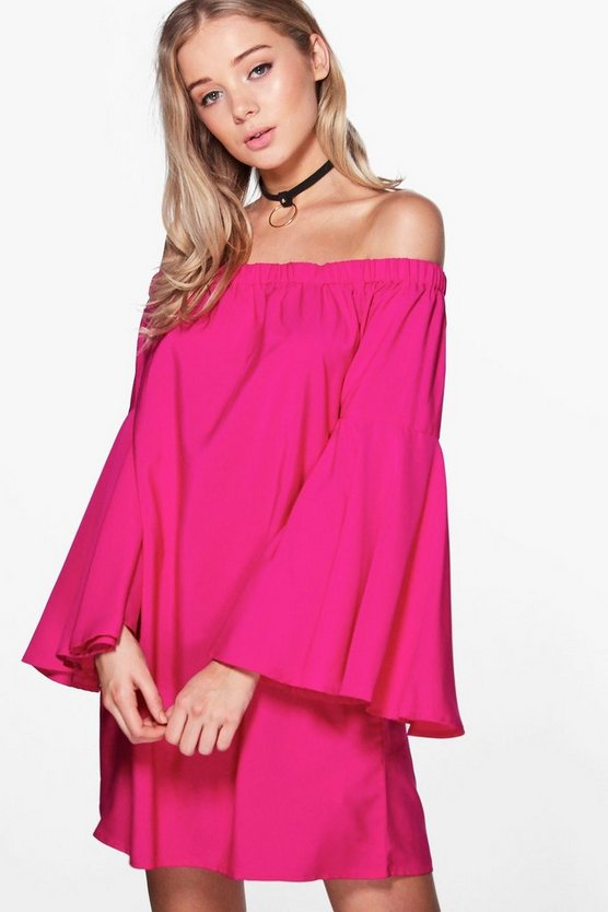 Frey Extreme Flare Sleeve Off Shoulder Dress
