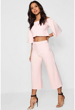 Holly Off Shoulder Crop & Culotte Co-ord Set