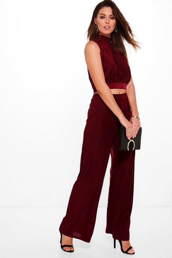 Mia Slinky High Neck Crop & Wide Trouser Co-Ord