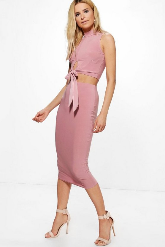 Lottie Slinky Cut Out Crop & Midi Skirt