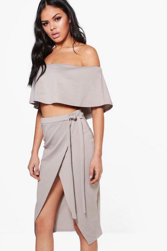 Noelle Off The Shoulder Crop & Skirt Co-Ord