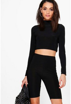 Heather Slinky Crop & Shorts Co-Ord Set