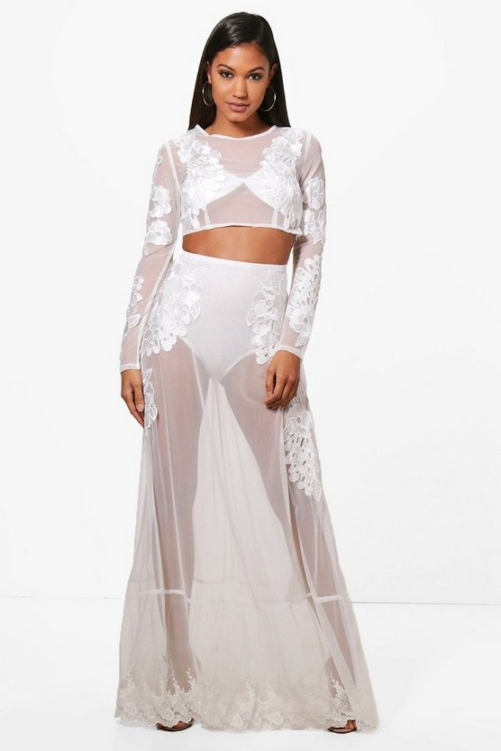 Holly Embroidered Sheer Crop & Maxi Co-Ord Set