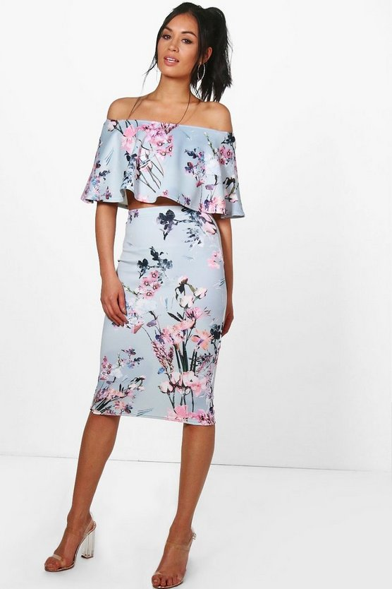 Floral Off The Shoulder Crop & Skirt Co-Ord