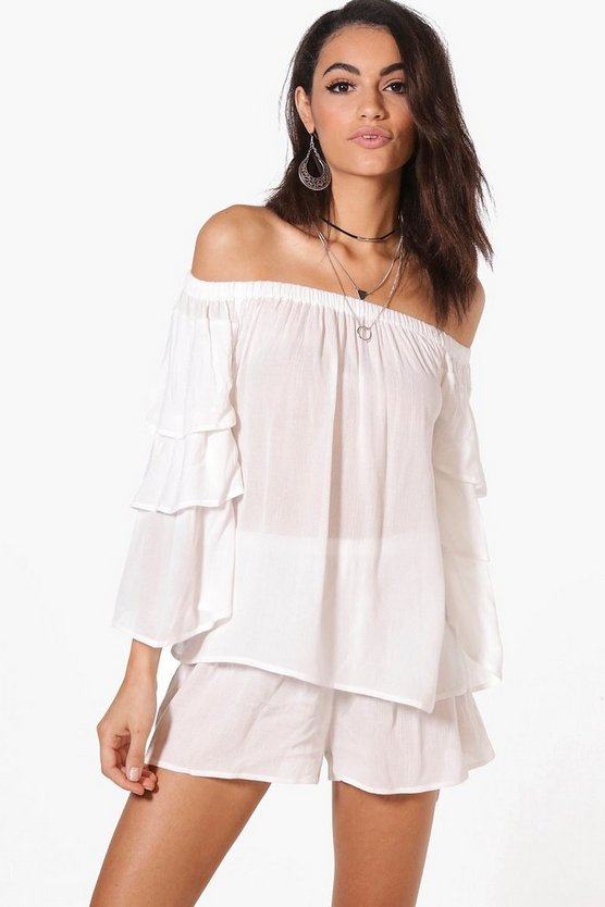 Emily Woven Off The Shoulder Frill Crop & Short Co-Ord
