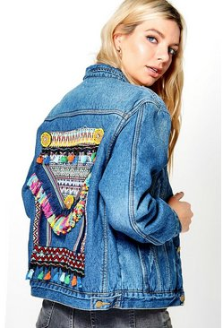 Mia Embroidered Statement Back Denim Jacket