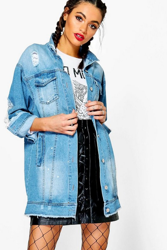 Paint Splatter Distress Long line Denim Jacket