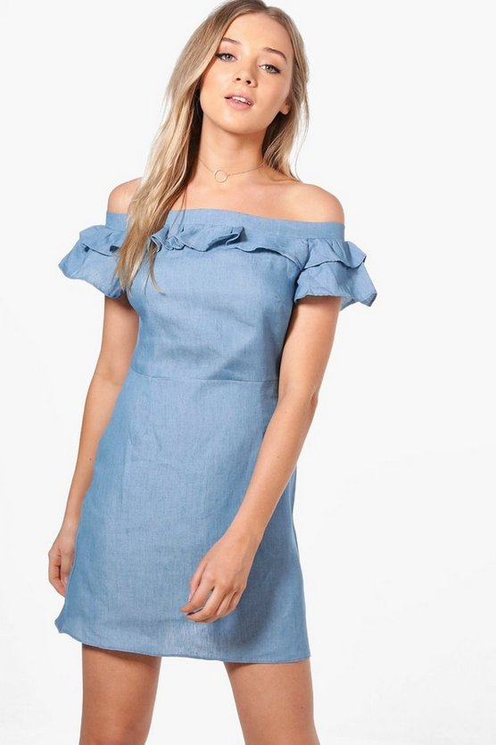 Jessie Off The Shoulder Chambray Swing Dress