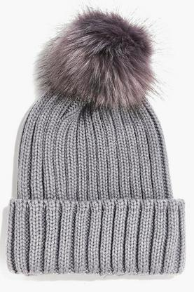 Amy Ribbed Beanie With Faux Fur Pom