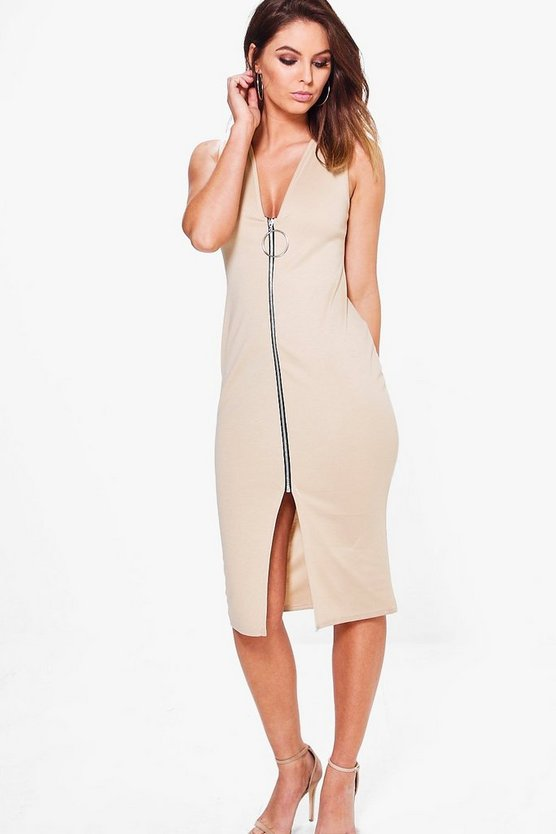 Abigail Zip Through Sleeveless Midi Bodycon Dress