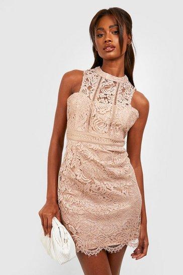 Mink Boutique  Lace Racer Neck Bodycon Dress
