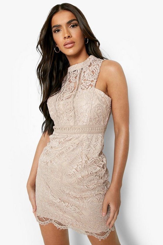 Boutique Mia Lace Racer Neck Bodycon Dress